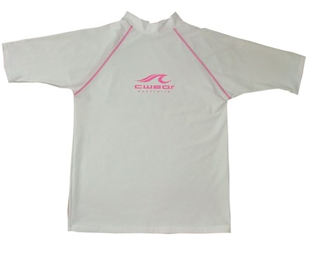 WHITE SWIM SHIRT with PINK LOGO - 7XL