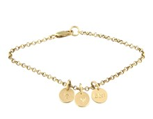 Yellow gold filled charm bracelet and alphabet charms