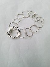 Sterling silver large link bracelet with stamped circle