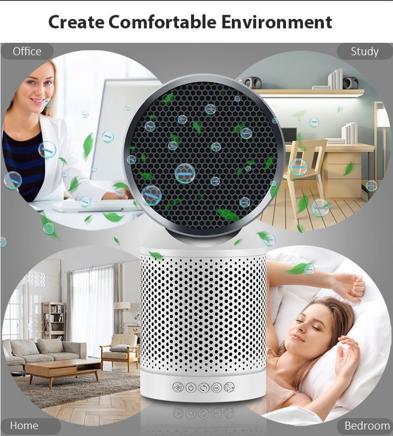Negative Ion Rotating Activated Carbon Hepa Filter Air Purifier ATLS7