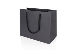Medium Landscape Black Paper Gift Bag With Rope Handles 200 x 250 x 120mm (JULBLME)