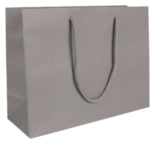 Large Landscape Grey Paper Gift Bag With Rope Handles 250 x 330 x 120mm (LBGRLA)