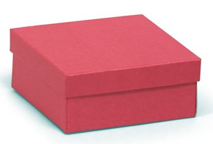 Square Kraft recycled red jewellery box 89 x 89 x 38 mm (KCRED20)