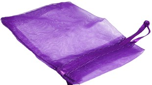 Small Purple Organza Pouch With Ribbon Drawstring 90 x 70mm (OGPUSM)