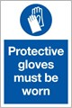 Protective Gloves Sign LARGE - 400 x 600Hmm - Rigid Plastic - [AS-MA46-RP]