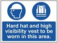 Hard Hat and High Visibility Vest Area Sign - 600 x 450Hmm - Rigid Plastic - [AS-MA122A-RP]