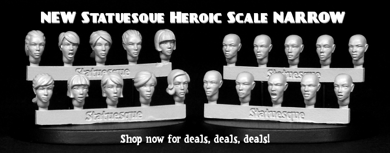 New Heroic Scale Female Heads NARROW 2 and Bald on sale now!