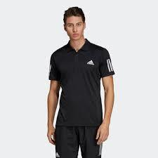 Adidas 3 Stripes Men's Club Polo black white DU0848