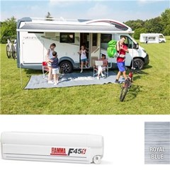 Fiamma F45 S awning. 260cm - White case with a Royal Blue canopy