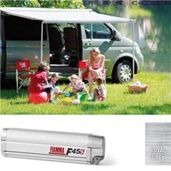 Fiamma F45S awning. VW T5 or VW T6. 260cm (swb) Titanium case with a grey canopy