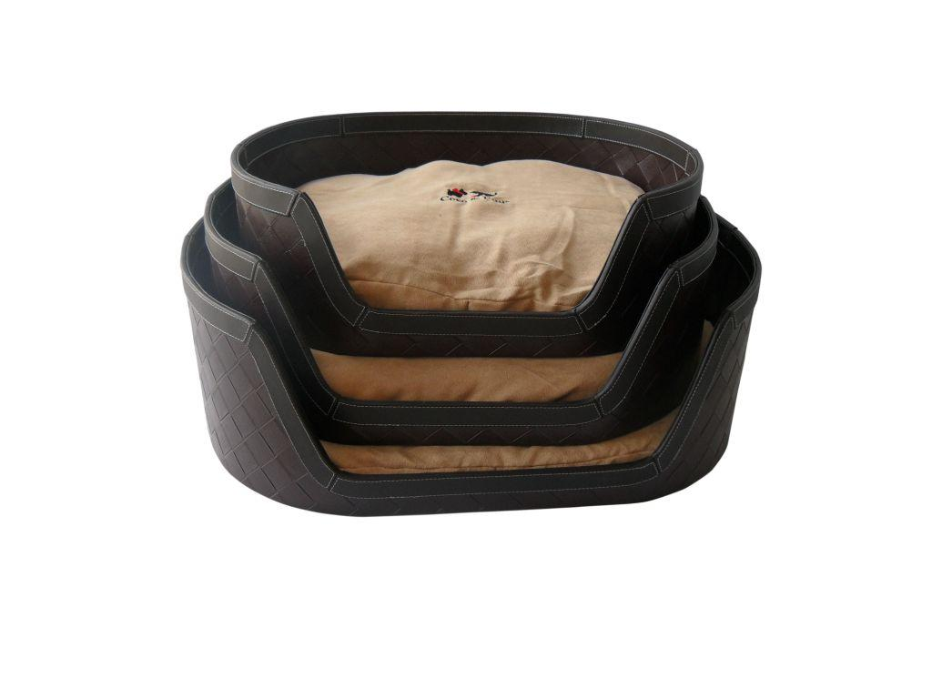 woven pu leather  sensuede pet bed  black -