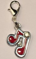Music Note  - Red & Silver Collar Charm