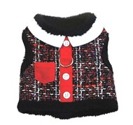Red Tweed and Minky Plush Pocket Harness with Leash