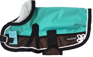 Waterproof Dog Coat 3011- Teal/Choc with piping