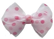 Pink & White Dot Hair Bows Large (5 Pack)