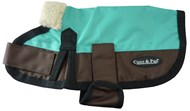 Waterproof Dog Coat 3009 - Teal & Chocolate (Small to Medium Dogs)