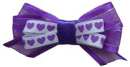 Double Bow & Heart Pet Hair Bows (4 Pack) - Purple