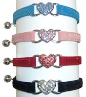 Velvet & Crystal Heart Safety Cat Collar