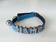 Plain Leather Safety Cat Collar - Blue