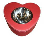Faux Leather Heart Shaped Pet Bowl (Red)