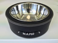 Personalised Faux Leather Pet Bowl - Black