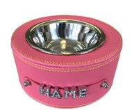 Personalised Faux Leather Pet Bowl - Dark Pink
