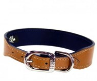 Hartman & Rose Italian Leather Dog Collar - Buckskin & Nickel (Natural Tan & Nickel)