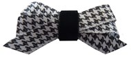 Houndstooth & Black Velvet Dog Hair Bows (4 Pack)