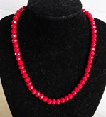 Elegant Necklace Red Crystal