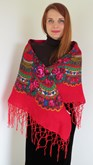 Ladies Shawl Flowery Paradise on Red