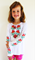 Girls long sleeve embroidered top Poppies On White