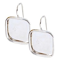 Earring Large Square Sterling Silver Plated - Pair