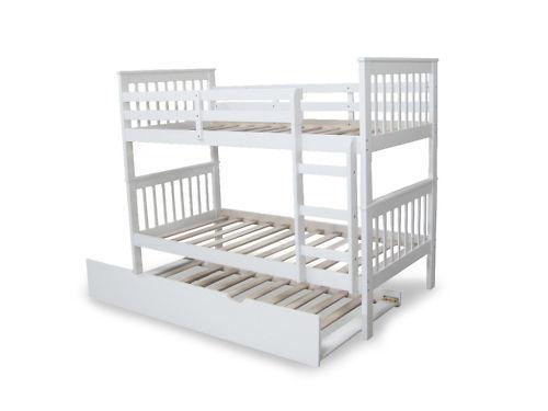Bunk bed king single king single trundle bed solid white for Loft bed with trundle