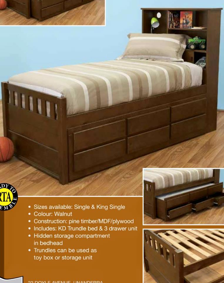 Single Bed With Trundle And Storage Drawers