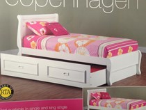 Trundle bed single white with Drawers NEW