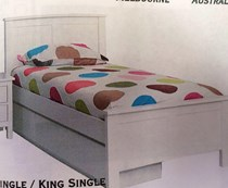 Trundle bed King single white with single trundle