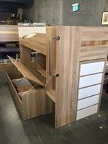 Double single bunk with gas lift and foot end stoarge drawers NEW DESIGN