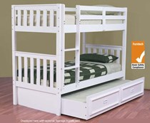 Bunk bed King single with king single trundle SOLID white NEW